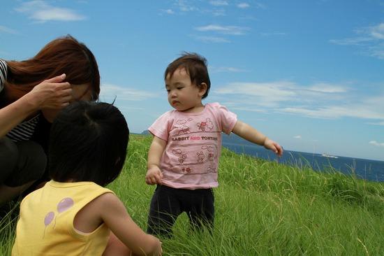 波戸岬の芝の上