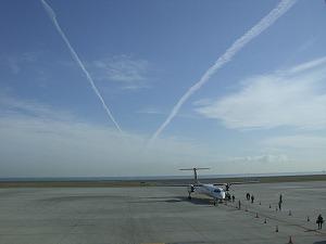 Vの字飛行機雲